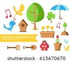 garden tools set collection... | Shutterstock .eps vector #615670670