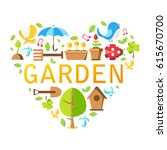 garden tools collection with... | Shutterstock .eps vector #615670700
