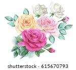watercolor roses | Shutterstock . vector #615670793
