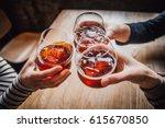 girls having good time cheering ... | Shutterstock . vector #615670850