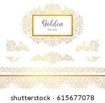 vector vintage seamless border  ... | Shutterstock .eps vector #615677078