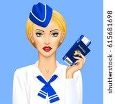 stewardess with passport and... | Shutterstock . vector #615681698