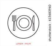 line icon  plate  knife and fork   Shutterstock .eps vector #615683960