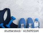 flatlay sport composition with... | Shutterstock . vector #615690164