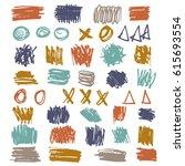 hand paint brush spots ... | Shutterstock .eps vector #615693554