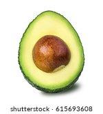 avocado isolated on white... | Shutterstock . vector #615693608