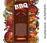 bbq and grill background with... | Shutterstock .eps vector #615694694