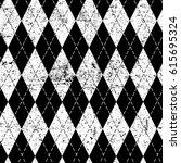 argyle monochrome seamless... | Shutterstock .eps vector #615695324