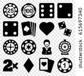 gamble icons set. set of 16... | Shutterstock .eps vector #615697340