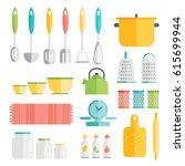 kitchen utensils in flat style...   Shutterstock .eps vector #615699944