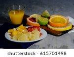 Various Citrus Fruit Cut Into...
