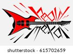 logo hard electronic guitar in... | Shutterstock .eps vector #615702659