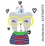 Stock vector cute animal cartoon artwork vector 615706973