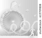 paper style art   an amusement...   Shutterstock .eps vector #615709808
