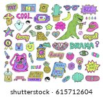 trendy fashion stickers or...   Shutterstock .eps vector #615712604