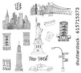 New York. Hand Drawn Vector Set