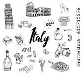 italy. hand drawn vector set | Shutterstock .eps vector #615715376