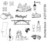 portugal. hand drawn vector set   Shutterstock .eps vector #615715730