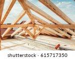 installation of wooden beams at ... | Shutterstock . vector #615717350
