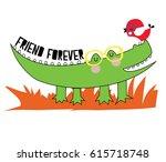 cute animals cartoon artwork... | Shutterstock .eps vector #615718748