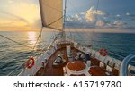 luxury sailing shipt at sunset. ... | Shutterstock . vector #615719780
