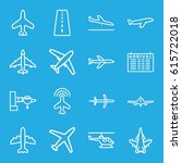 airline icons set. set of 16... | Shutterstock .eps vector #615722018