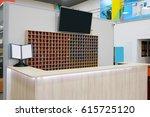 reception desk in a fitness... | Shutterstock . vector #615725120
