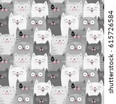 Funny Grey Cats  Cute Seamless...