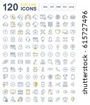 set  line icons in flat design... | Shutterstock . vector #615727496
