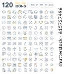 set  line icons in flat design... | Shutterstock . vector #615727496