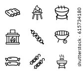 grill icons set. set of 9 grill ... | Shutterstock .eps vector #615734180