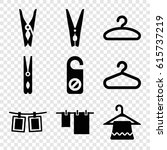 hang icons set. set of 9 hang... | Shutterstock .eps vector #615737219