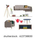 furniture and interior design... | Shutterstock .eps vector #615738830