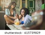 cute smiling girls in... | Shutterstock . vector #615739829