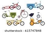 color set of utility  bicycles... | Shutterstock .eps vector #615747848