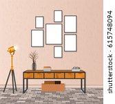 mockup living room interior in... | Shutterstock .eps vector #615748094