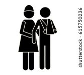 silhouette nurse and man with... | Shutterstock .eps vector #615750236