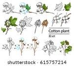 vector set of hand draw ink... | Shutterstock .eps vector #615757214