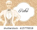 retro fashion. elegant... | Shutterstock .eps vector #615770018