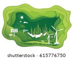 paper art of ecology concept.... | Shutterstock .eps vector #615776750