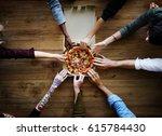 people hands grabbing pizza... | Shutterstock . vector #615784430