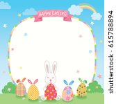 easter day template decorated...   Shutterstock .eps vector #615788894