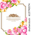invitation with floral... | Shutterstock .eps vector #615790574