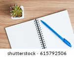 open blank spiral notebook with ... | Shutterstock . vector #615792506