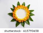 flower rangoli made using... | Shutterstock . vector #615793658