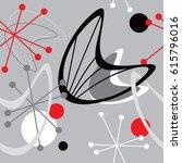 mid century modern 1950 style... | Shutterstock .eps vector #615796016