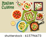 Stock vector italian cuisine tasty dinner icon of pasta casserole with cheese salmon spinach pasta tomato 615796673