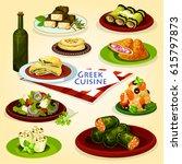 greek cuisine healthy lunch...   Shutterstock .eps vector #615797873