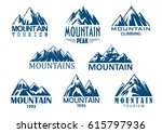 mountain tourism and rock... | Shutterstock .eps vector #615797936