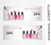gift voucher colorful nail... | Shutterstock .eps vector #615809774